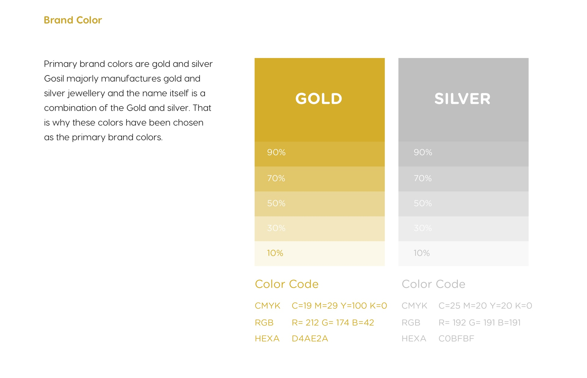 Brand color - Primary brand color are gold and silver Gosil majorly manufacture gold and silver jewellery and name itself is the combination of the gold and silver. That is why these colors have been chosen as the primary brand colors.