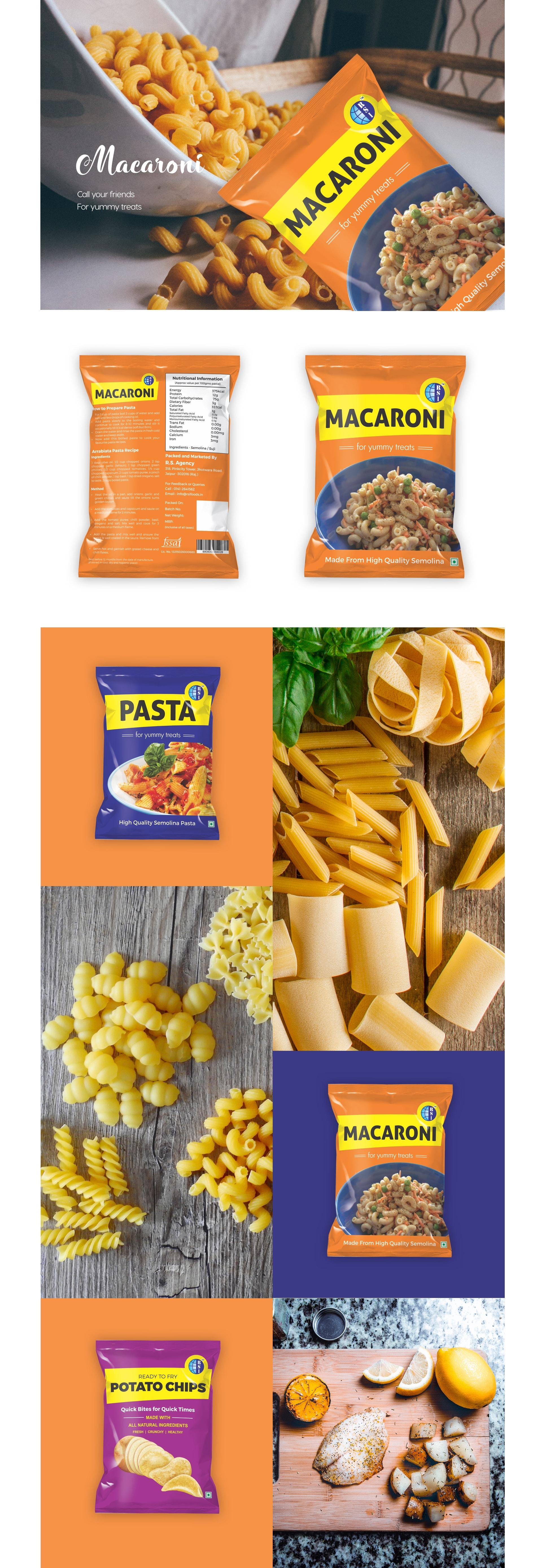 Macaroni by R.S. International , Procedure to make healthy potato chip. , Inside the package pasta by R.S. International , Inside the macaroni pasta by R.S. International , Inside the package potato chip by R.S. International ,