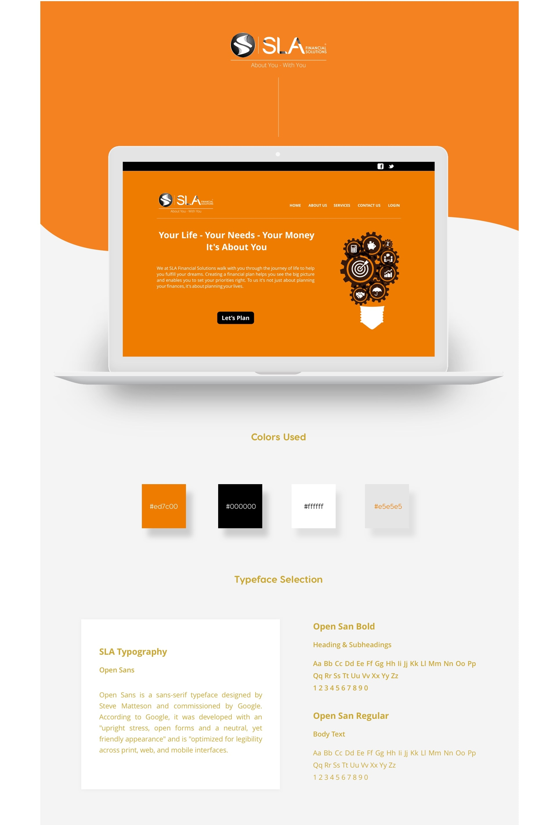 Homepage , Colors used , Typeface selection